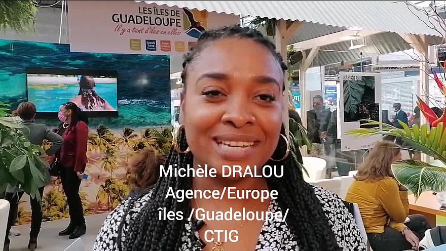 '1 MINUTE,1 ILE' Michèle DRALOU responsable Europe des îles de Guadeloupe au salon du tourisme IFTM Top Resa 2021 à Paris.